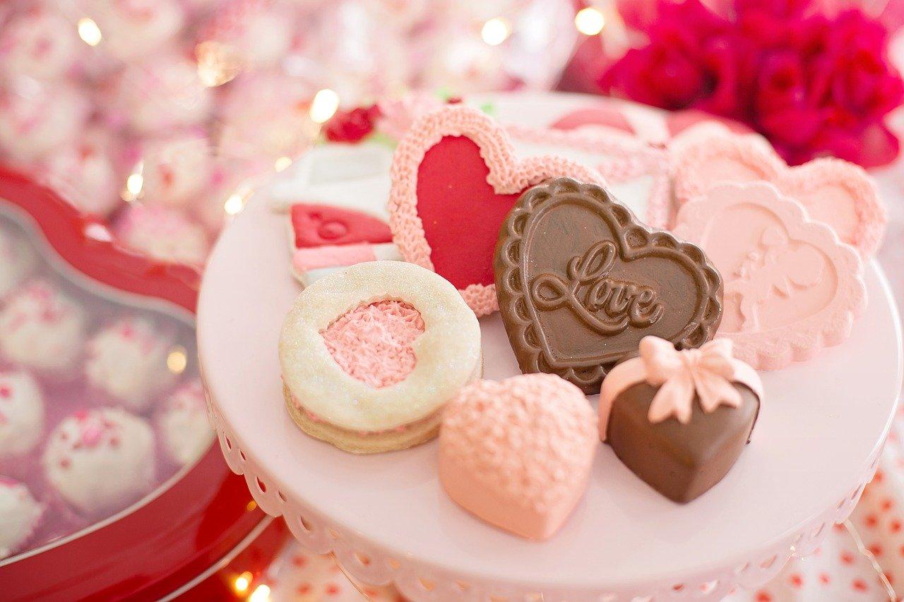 Cukroví na den svatého Valentýna.